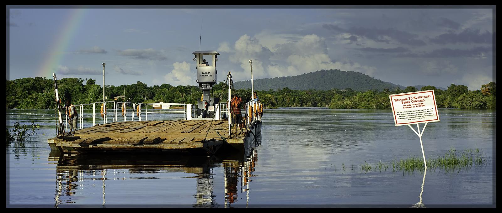 Kurupukari river ferry- only road through the interior